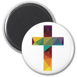 low poly god cross religion symbol polygon jesus 6 cm round magnet
