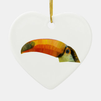 Low Poly Toucan Ceramic Heart Decoration