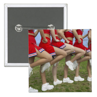 Low Section View of a Group of Cheerleaders Pinback Button