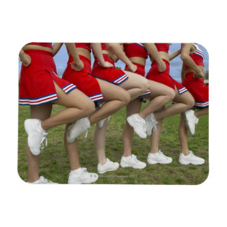Low Section View of a Group of Cheerleaders Rectangular Photo Magnet