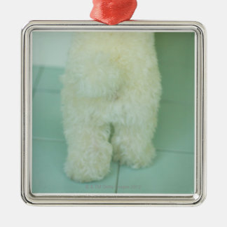 Low section view of a miniature poodle christmas ornament