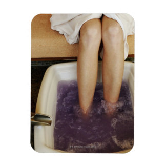 Low section view of a woman getting a pedicure vinyl magnet
