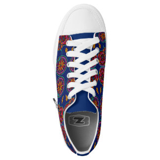 Low Sneakers Changeable Zip Floral Lace Up