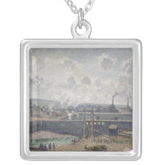 Low Tide at Duquesne Docks, Dieppe, 1902 Silver Plated Necklace