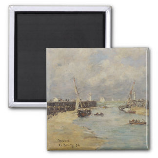 Low Tide at Trouville, 1895 (oil on panel) Square Magnet