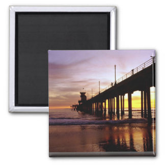 Low tide reflections at sundown, Huntington Beach Square Magnet