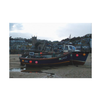 Low Tide St Ives Cornwall England Winter Photo Gallery Wrapped Canvas