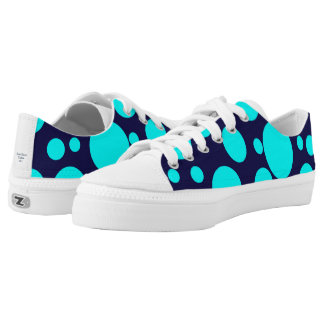 Low Top Blue Shoes with Dots Printed Shoes