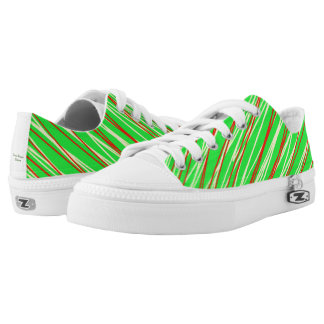 Low Top Shoes in Green with stripes Printed Shoes