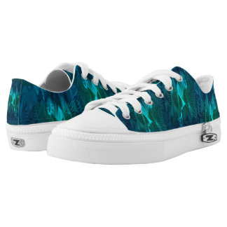 Low Top Shoes with Green and Teal Digital Pattern