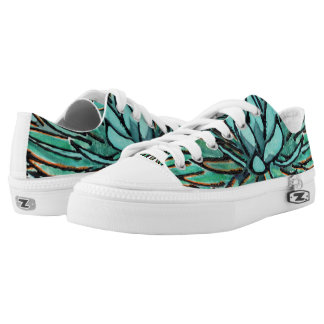 Low Top Sneakers - Spiky Green Agave