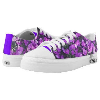 """LOW TOP TENNIS SHOES - PRETTY """"PURPLE"""" FLOWERS PRINTED SHOES"""