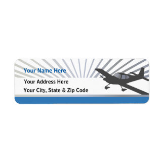 Low Wing Experimental Airplane Return Address Label