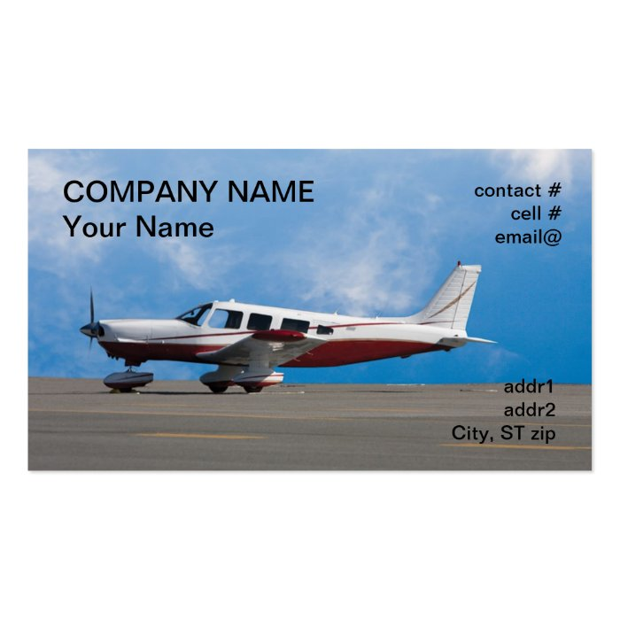 low wing light aircraft pack of standard business cards