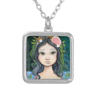 Lowbrow pop surrealism Mermaid Lagoon Painting Silver Plated Necklace
