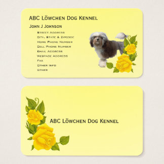 Löwchen and Yellow Roses Business Card