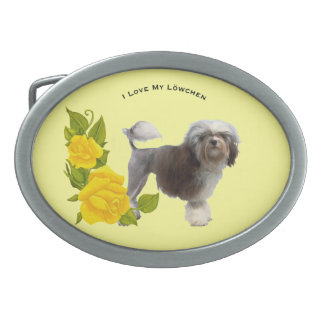 Lowchen and Yellow Roses Oval Belt Buckle