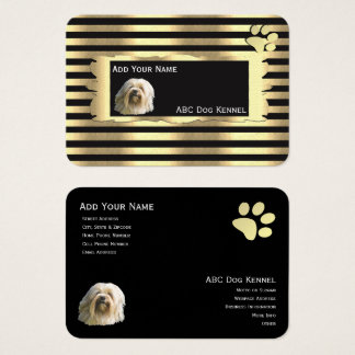 Lowchen on Black and Gold with pawprint Business Card