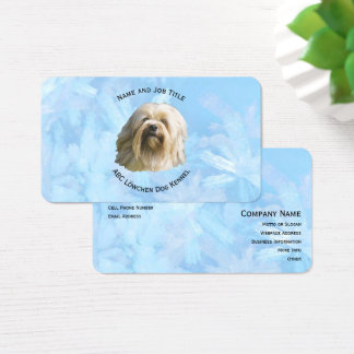 Lowchen on Blue Crystal Business Card