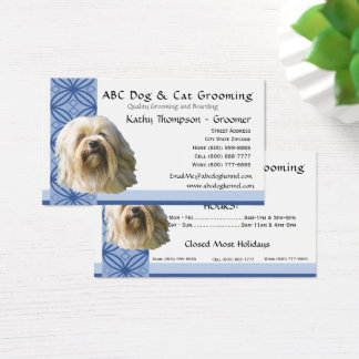 Lowchen on Blue Design Business Card