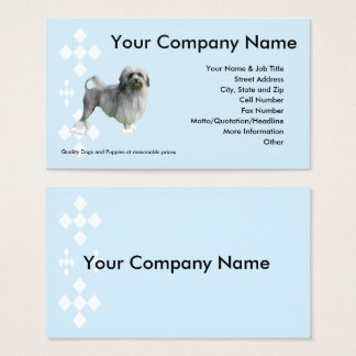 Lowchen on blue with white diamonds business card