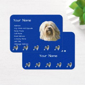 Lowchen on Dark Blue Business Card