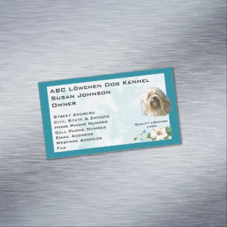 Lowchen on Teal Floral Magnetic Business Cards