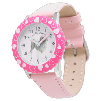 Lowchen with Pink and white diamonds Wristwatch