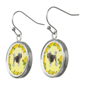 Lowchen with Yellow Roses Earrings