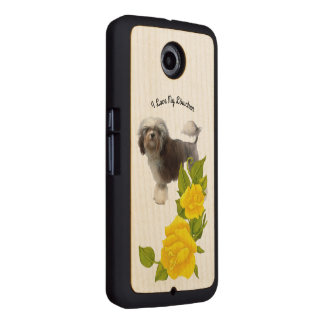 Lowchen with Yellow Roses on Maple Wood Phone Case