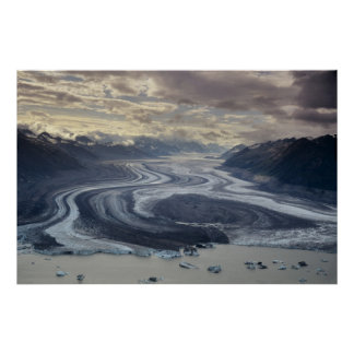 Lowell Glacier flows into the Alsek River in Print