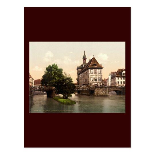 Lower bridge and city hall Bamberg Bavaria Postcard
