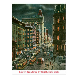 Lower Broadway by Night Postcard