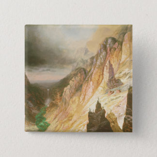 Lower Falls, Grand Canyon of the Yellowstone 15 Cm Square Badge