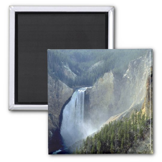 Lower Falls, Yellowstone River Canyon Square Magnet