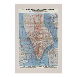 Lower Manhattan New York City Map 1879 Poster
