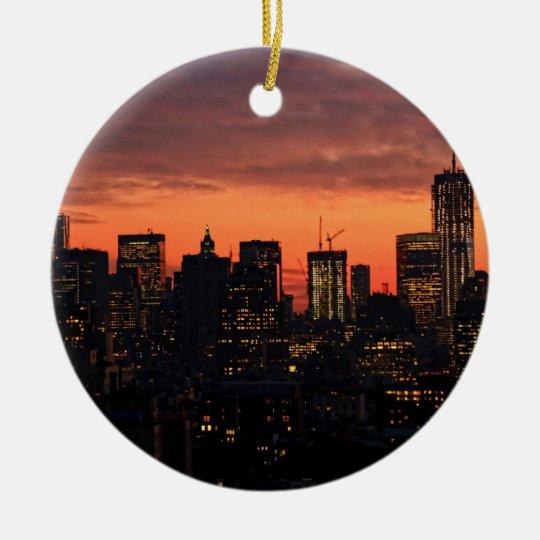 Lower Manhattan Skyline at Twilight, Pink Sky A1