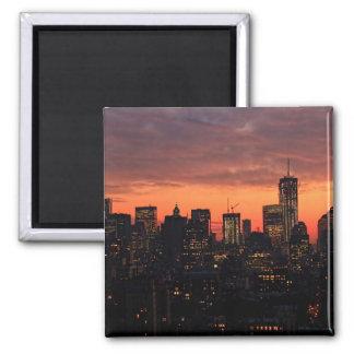 Lower Manhattan Skyline at Twilight, Pink Sky A1 Square Magnet