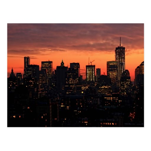 Lower Manhattan Skyline at Twilight, Pink Sky A1 Post Cards