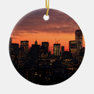 Lower Manhattan Skyline at Twilight, Pink Sky A1 Round Ceramic Decoration