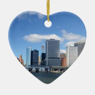 Lower Manhattan Skyline Ceramic Heart Decoration