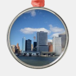Lower Manhattan Skyline Silver-Colored Round Decoration