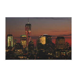 Lower NYC skyline: World Trade Center in Red Stretched Canvas Prints