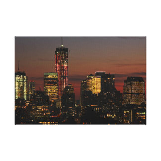 Lower NYC skyline: World Trade Center in Red Canvas Prints
