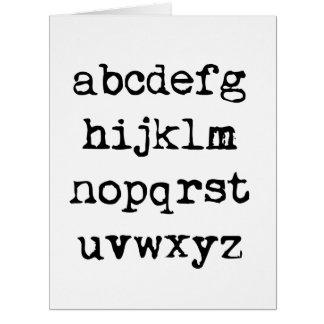lowercase alphabet big greeting card