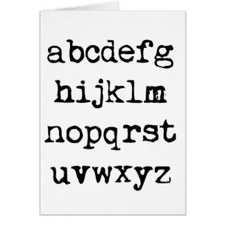 lowercase alphabet greeting card