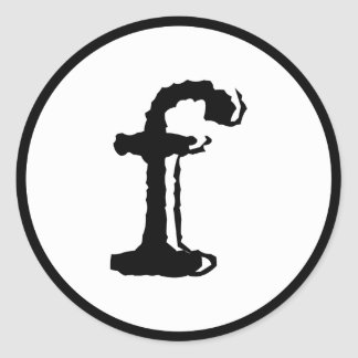 lowercase letter f classic round sticker