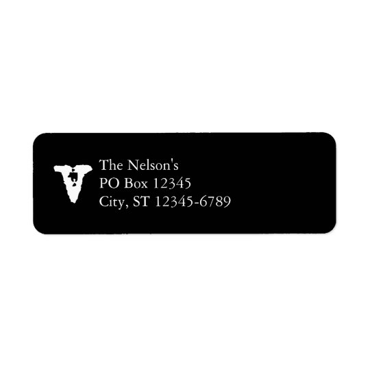 Lowercase Letter V Return Address Label