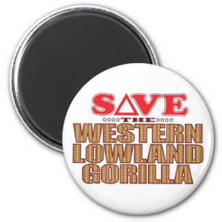 Lowland Gorilla Save 6 Cm Round Magnet