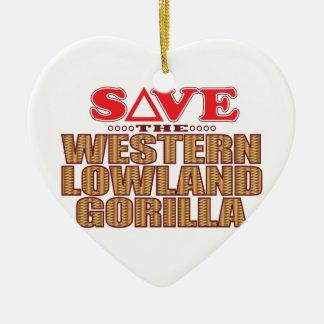 Lowland Gorilla Save Ceramic Heart Decoration